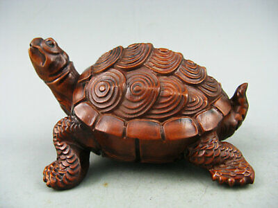 Antique Old Chinese Boxwood Hand carved Turtle Netsuke Statue