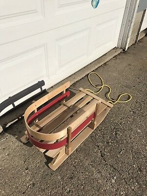 """New 28"""" WOODEN Toddler SNOW SLED Made in Canada 2014 28"""""""