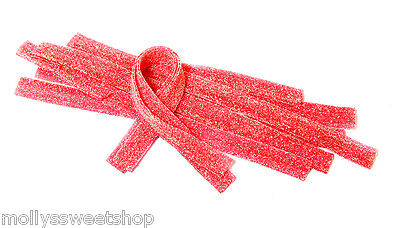 Fizzy Strawberry Belts - Retro Sour Sweets, Party Bags, Full Tub of 200 Belts