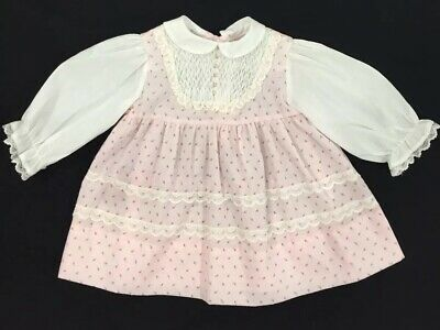 Polly Flinders VINTAGE  Baby Girls Pink White Hand Smocked Dress Size 18 Months