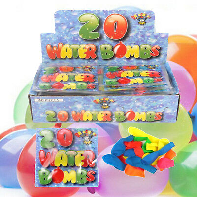 20 Water Bomb Balloons Assorted Neon Colours Kids Summer Fun Party Bag Filler