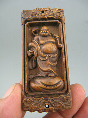 Antique Chinese Collectible Boxwood Hand-Carved Buddha Netsuke Statue