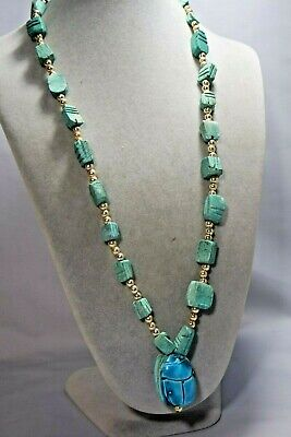 Vintage Egyptian Revival Blue Ceramic Scarab Bead Necklace