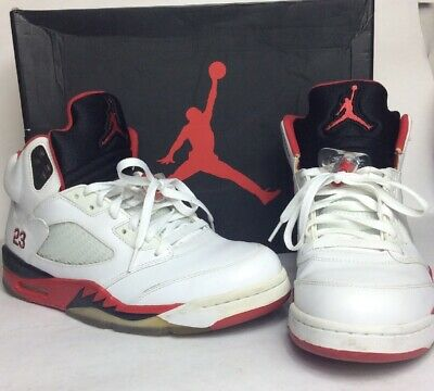 timeless design 9f118 d87a6 Nike Air Jordan 5 Retro White Fire Red-Black Black Tongue 136027-120