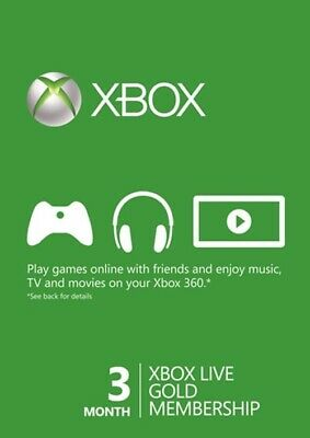 3 Month Xbox Live Gold Membership Microsoft Xbox 360 Code Instant Delivery