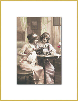 Edwardian Ladies With A Sewing Machine New 4x6 Vintage Image Photo Print LE187