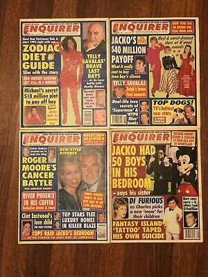 ad0249db834 4 RARE MICHAEL JACKSON NATIONAL ENQUIRER 1990s MAGAZINE LOT - MJ SCANDALS +