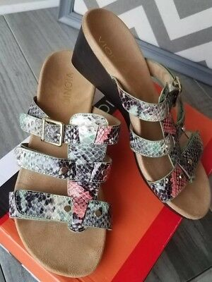 a9d8bea09a86 New Vionic Orthaheel Park Radia Mint Snake Wedge Heels Size 6 Coral Green  Black