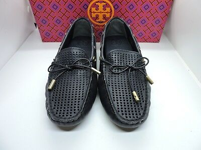 e33f5b384f4 Nib  265 Tory Burch Herrington Driver Perforated Leather Loafer Flat Navy  Blue 6