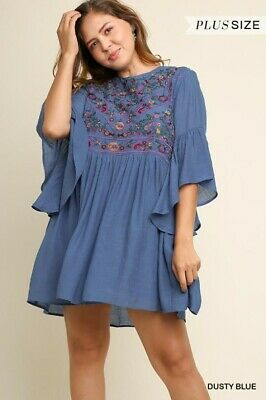 b5b0a00483427 UMGEE Dusty Blue Floral Embroidered Detail Boho Dress Plus XL 1X 2X USA  Boutique