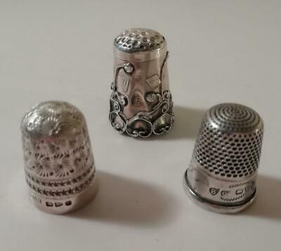 Two Charles Horner Silver Thimbles & One Art Nouveau Style: Chester 1892 / 1923