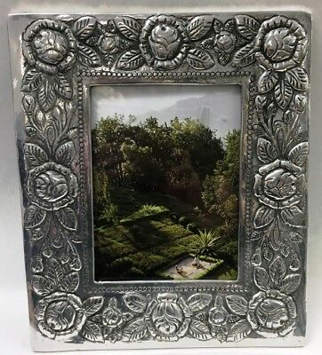 NEW Rustic Primitive HEAVY Handmade Spanish Carved Roses Silver Photo Frame