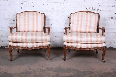 Baker Furniture French Provincial Louis XV Style Bergere Chairs, Pair