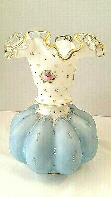 "Fenton Hand Painted Blue With Pink Roses Ruffle Top Vase 8"" Ribbed Melon"