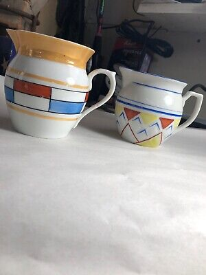 2 Vintage Art Deco Czechoslovakian art pottery porcelain pitchers