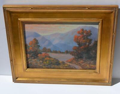 Edwin L Forker~CA Listed Artist~Mountain Sunset Painting ~ Oil on Masonite