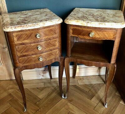 Antique French Louis Xv Style Matching Pair Of Marble Topped Bedside Cabinets