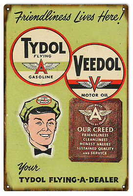 Tydol Veedol Flying Dealer Motor Oil And Gas Reproduction Sign
