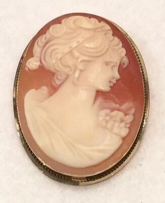 c.1960s Hand Carved Conch Shell CAMEO 2-in-1 Brooch w/in 14k Gold Frame - ITALY