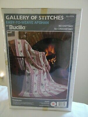 Bucilla Gallery of Stitches 37039 Easy to Weave Rosebuds Afghan 45 x 65 USA NIB