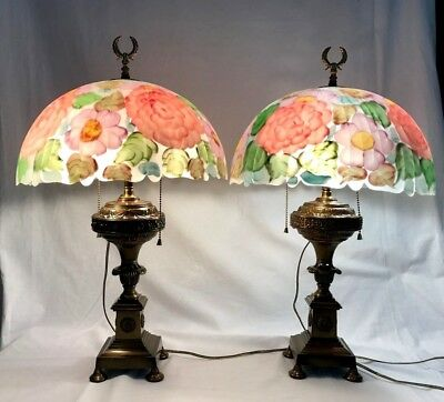 Pr VTG Reverse Painted Pink Rose Floral Glass Lamp Brass Base 23'' Artist Signed