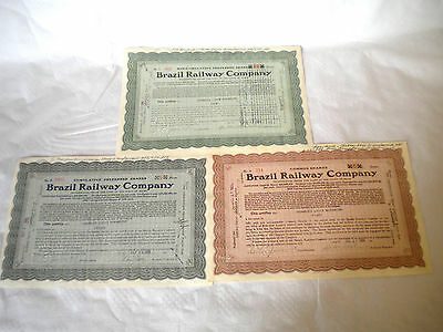 Scripophily Vintage Brazil Railway company Bonds shares certificates 1931