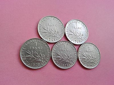 5 French Coins One Franc Collection Date Run 1968 1969 1970 1971 1972 (R628)