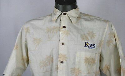 Tampa Bay Rays Reyn Spooner Hawaiian Floral Button Up Shirt M MLB camp hawaii