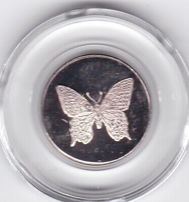 Butterfly 1/10 troy oz .999 pure Silver art round A.U. Minting Freedom w/capsule