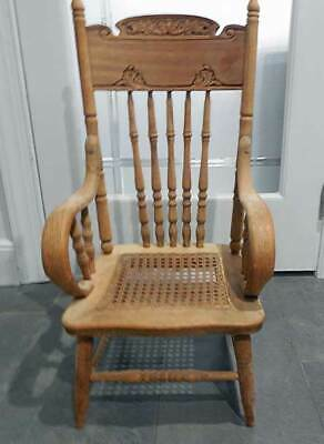 Antique OAK CARVED HIGH BACK CHILD'S CHAIR W / CANED SEAT