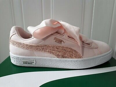 release date f0ff0 53427 PUMA BASKET HEART Canvas Womens Girls Shoes Trainers Pink Sizes UK4.5EU37.5  New