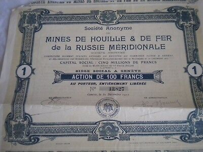 Vintage share certificate Stocks Bonds Mines houille 1 fer russie meridionale