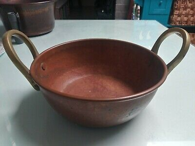 Antique Copper hammered Candy Kettle, Cauldron,Bucket, Pot, Bowl, with handles.
