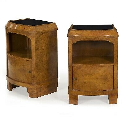 Pair ART DECO Nightstands Bedside TABLES | French Antique Burl Elm | circa 1930