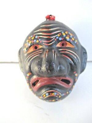 Japanese NOH Theater Mask ? Art Pottery Spirit Ball or Rattle Signed 6542
