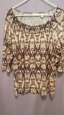 CHICO'S Size 3 Stretch Knit Top Shirt Brown & White 3/4 Sleeve Elastic Neck