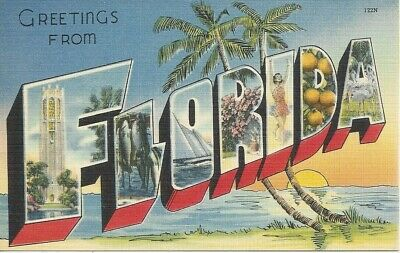 Postcard FL Greetings from Florida Linen - Unposted