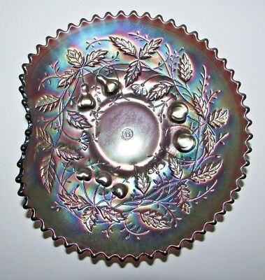 Scarce Northwood Carnival Glass Fruits and Flowers Handgrip Plate Amethyst #6