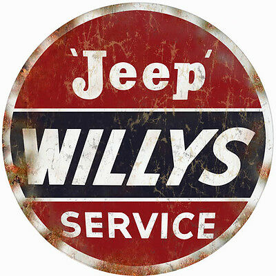 Reproduction Aged Looking Willys Jeep Service Sign 18 Round