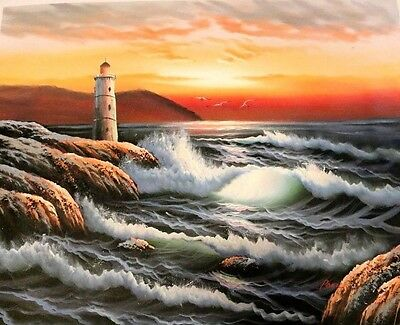 Original Art Lighthouse Ocean Wave Seascape Painting On Canvas Signed by Paul L