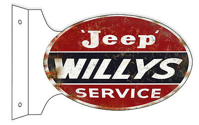 Reproduction Aged Looking Jeep Willys Service Double Sided Flange Sign