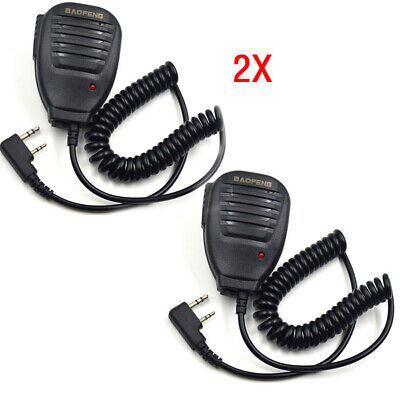 2*Walkie Talkie Handheld Speaker Mic Shoulder Microphone For BaoFeng UV-5R R7A2V