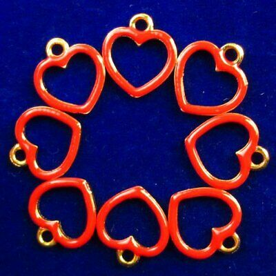 8Pcs Carved Tibetan Gold Red Heart Pendant Bead 14x12x2mm L45706