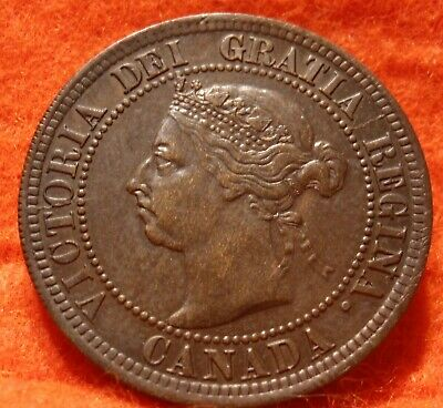 1891 AU High Grade CANADA LARGE CENT Victoria COIN CANADIAN
