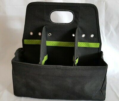 Tote-ally Cool On-the-Go Canvas Craft Scrapbook Organizer Bag AMMs  Black & Lime