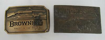 Vintage Winchester Repeating Arms & Browning Rifle Belt Buckles Metal Craft l
