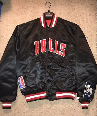 8b29db84cb883f VINTAGE 90S CHICAGO Bulls Starter Jacket Men Large Satin Black  New ...