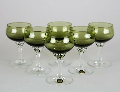 Sasaki Coronation Green Cocktail Glasses Set 6 Twist Stem Vintage Glass Stemware