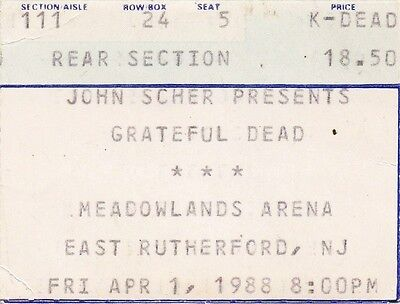Grateful Dead Ticket Stub  04-01-1988  Meadowlands Arena