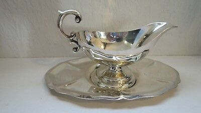 Sterling Silver Mexican Solid Gravy / Sauce Boat & Tray - Mid 20Thc